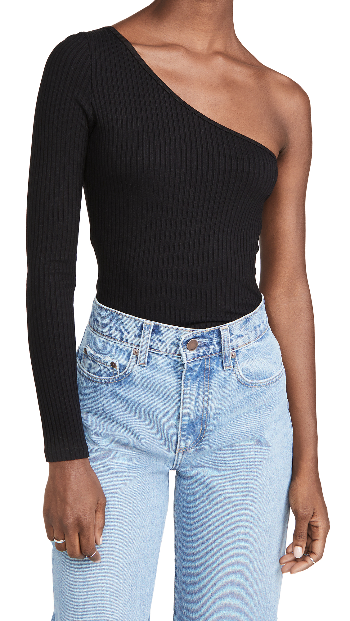 NOBODY DENIM LUXE RIB LONG SLEEVE ONE SHOULDER TOP