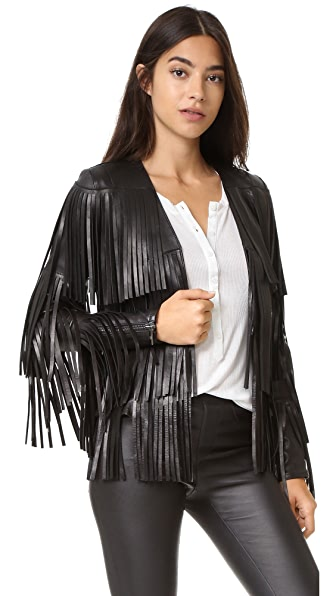 Nour Hammour Lottery Fringe Leather Jacket