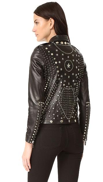 Nour Hammour Whiskey Classic Fringe Motorcycle Jacket