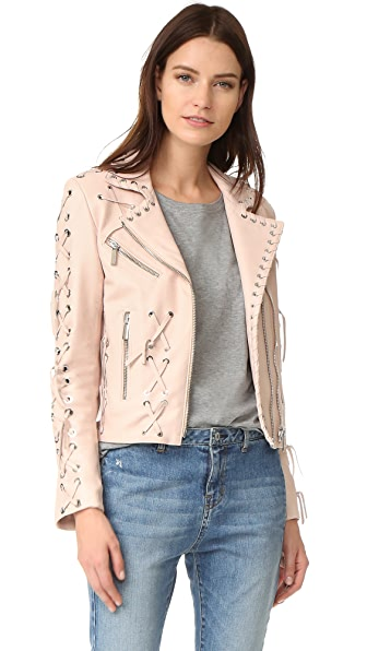 Nour Hammour Roxy Motorcycle Jacket with Studs - Ice Pink