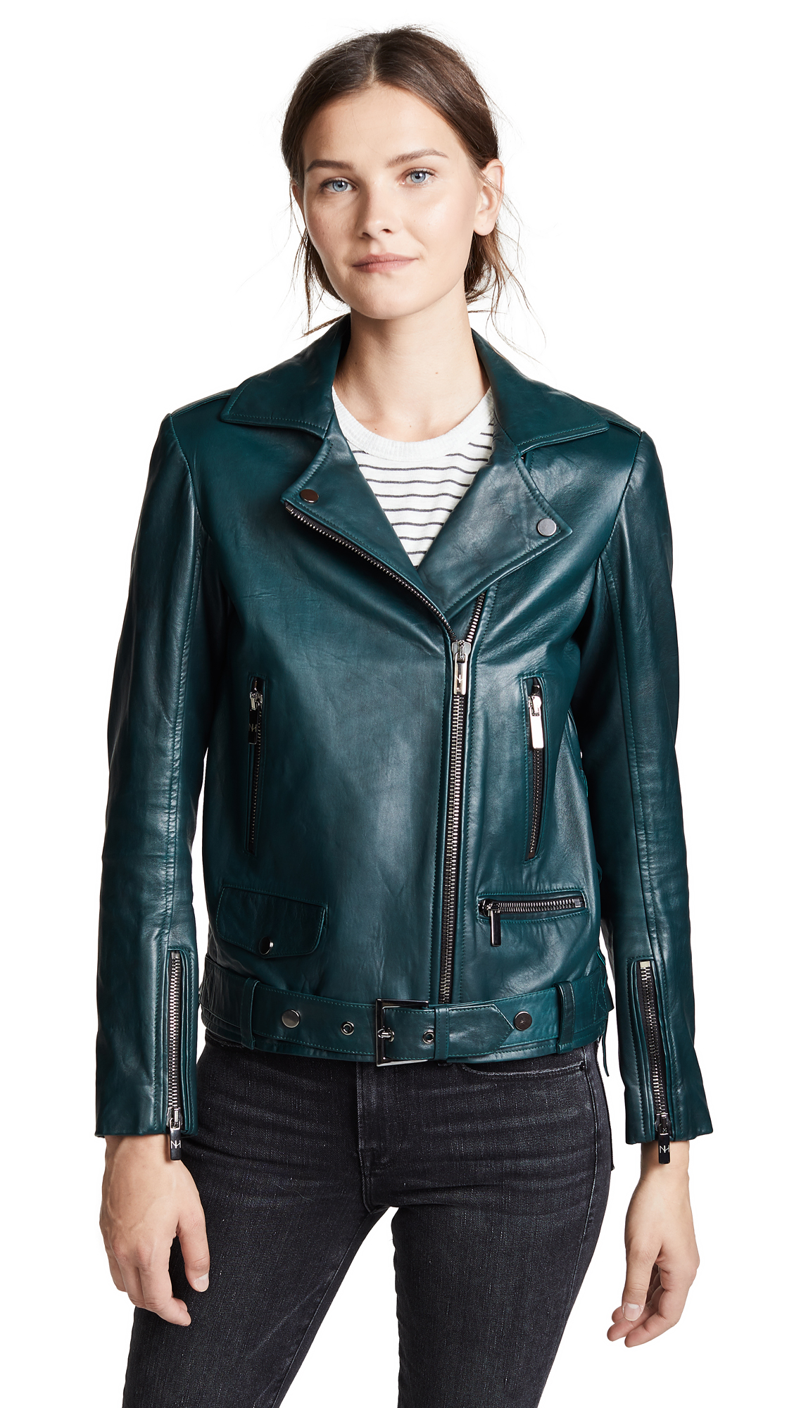 Nour Hammour Republique Leather Jacket In Emerald