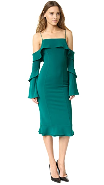 Nicholas Crepe Spiral Sleeve Off Shoulder Dress
