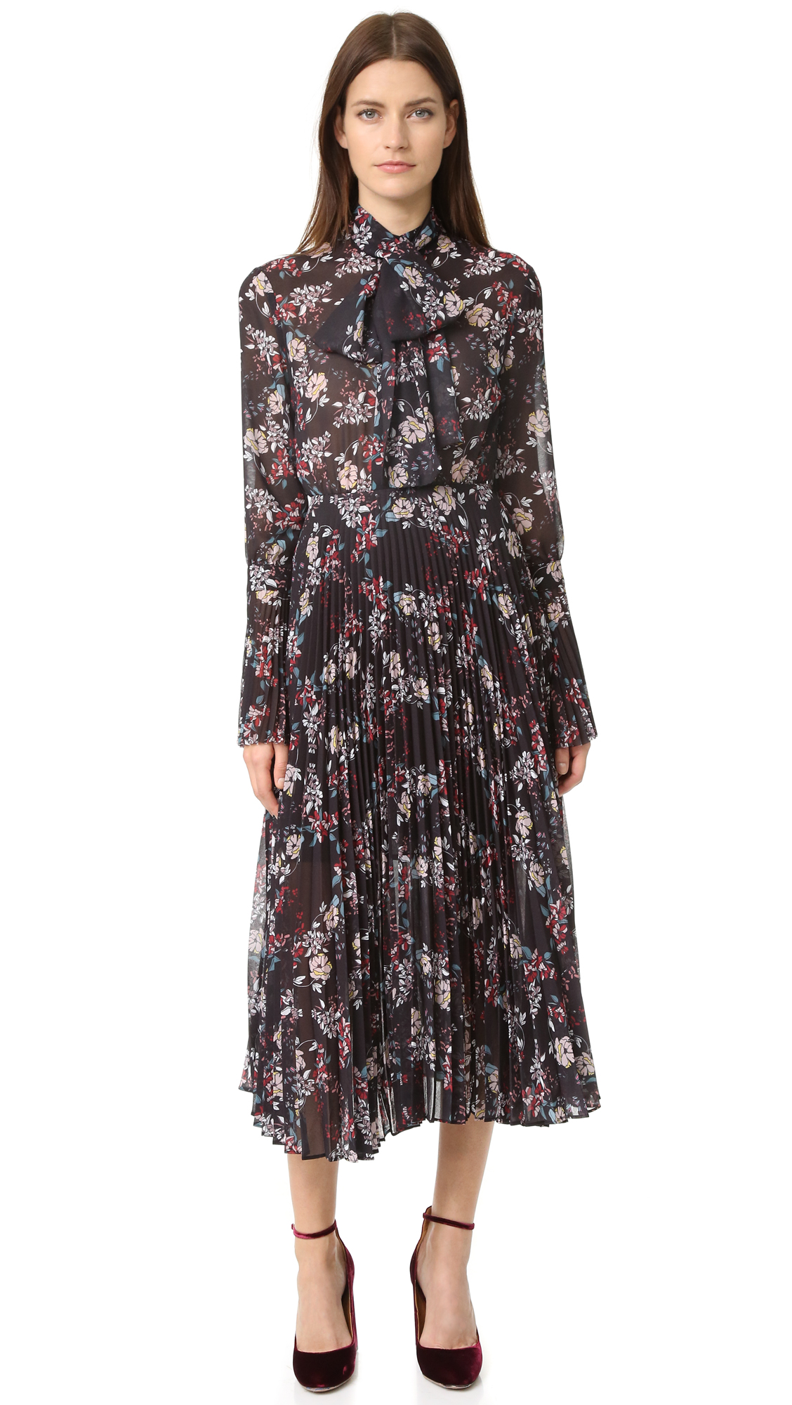 Nicholas Pleated Floral Dress - Black