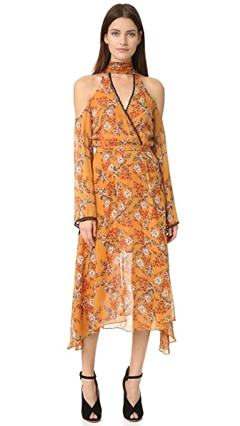 Nicholas Neck Wrap Front Dress - Marigold