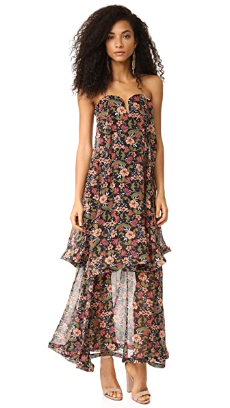 Nicholas '70s Floral Strapless Bow Dress