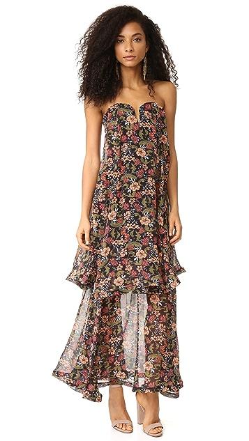 Nicholas '70s Floral Strapless Bow Dress