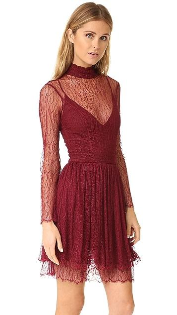 Nicholas Filigree Lace Long Sleeve Mini Dress