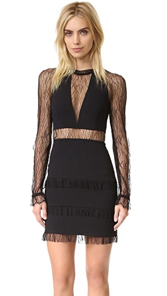 Nicholas Filigree Lace Plunge Mini Dress
