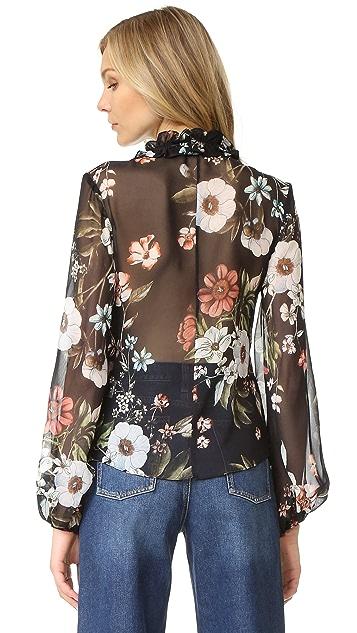 Nicholas Vintage Floral Print Tucked Top