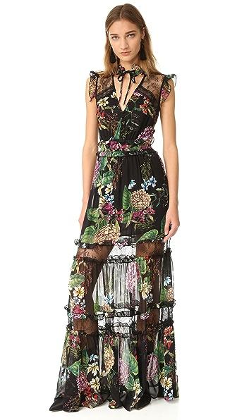 Nicholas Dahlia Print Ruffle Maxi Dress | SHOPBOP