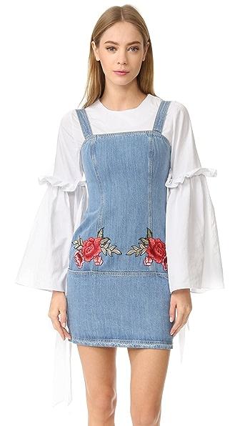 Nicholas N/Nicholas Embroidered Floral Mini Dress - Vintage Blue