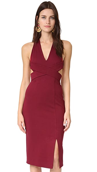 Nicholas Wrap Halter Dress - Burgundy