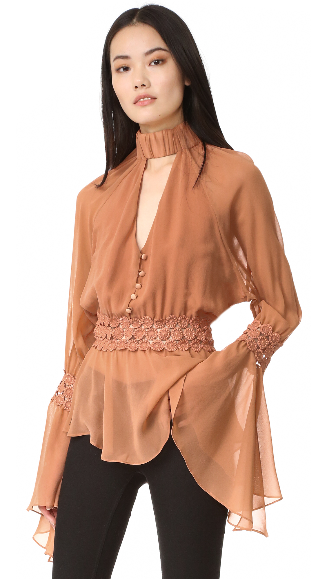 Nicholas Georgette Batwing Top - Clay