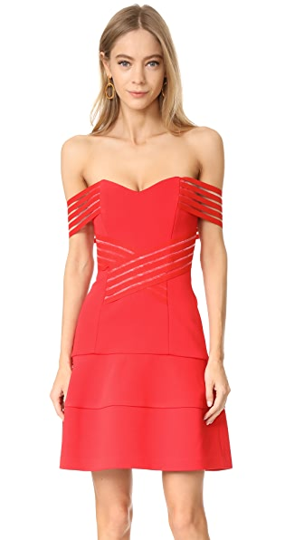 Nicholas Bandage Off Shoulder Mini Dress - Poppy Red