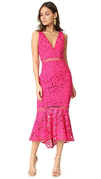 Nicholas Lace Plunge Dress - Fuchsia