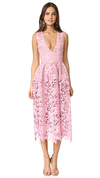 Nicholas Bellflower Deep V Ball Dress - Peony Pink