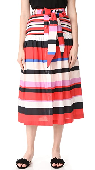 Nicholas N/Nicholas Amalfi Stripe Midi Skirt In Amalfi Stripe