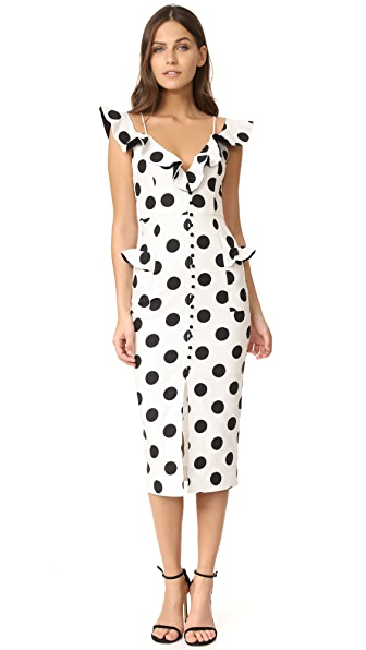 Nicholas N/Nicholas Spot Midi Dress - Black/Natural