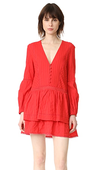 Nicholas N/Nicholas Long Sleeve Mini Dress In Scarlet