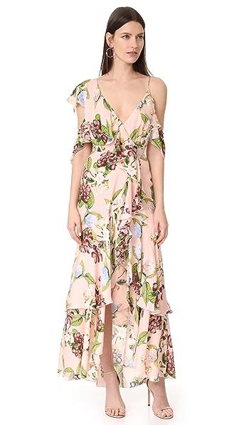 Nicholas Evie Floral Wrap Flounce Maxi Dress In Evie Floral