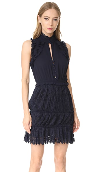 Nicholas Pleated Lace Mini Dress - Navy