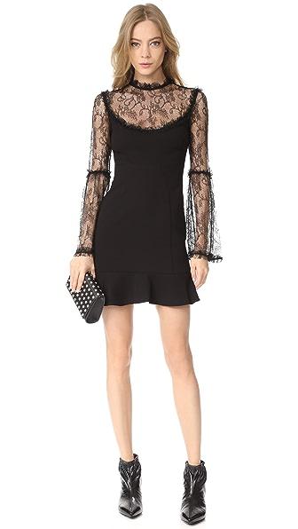 NICHOLAS Crepe Mini Flounce Dress in Black