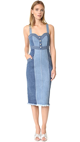 Nicholas N/Nicholas Denim Pinafore Dress - Washed Blue