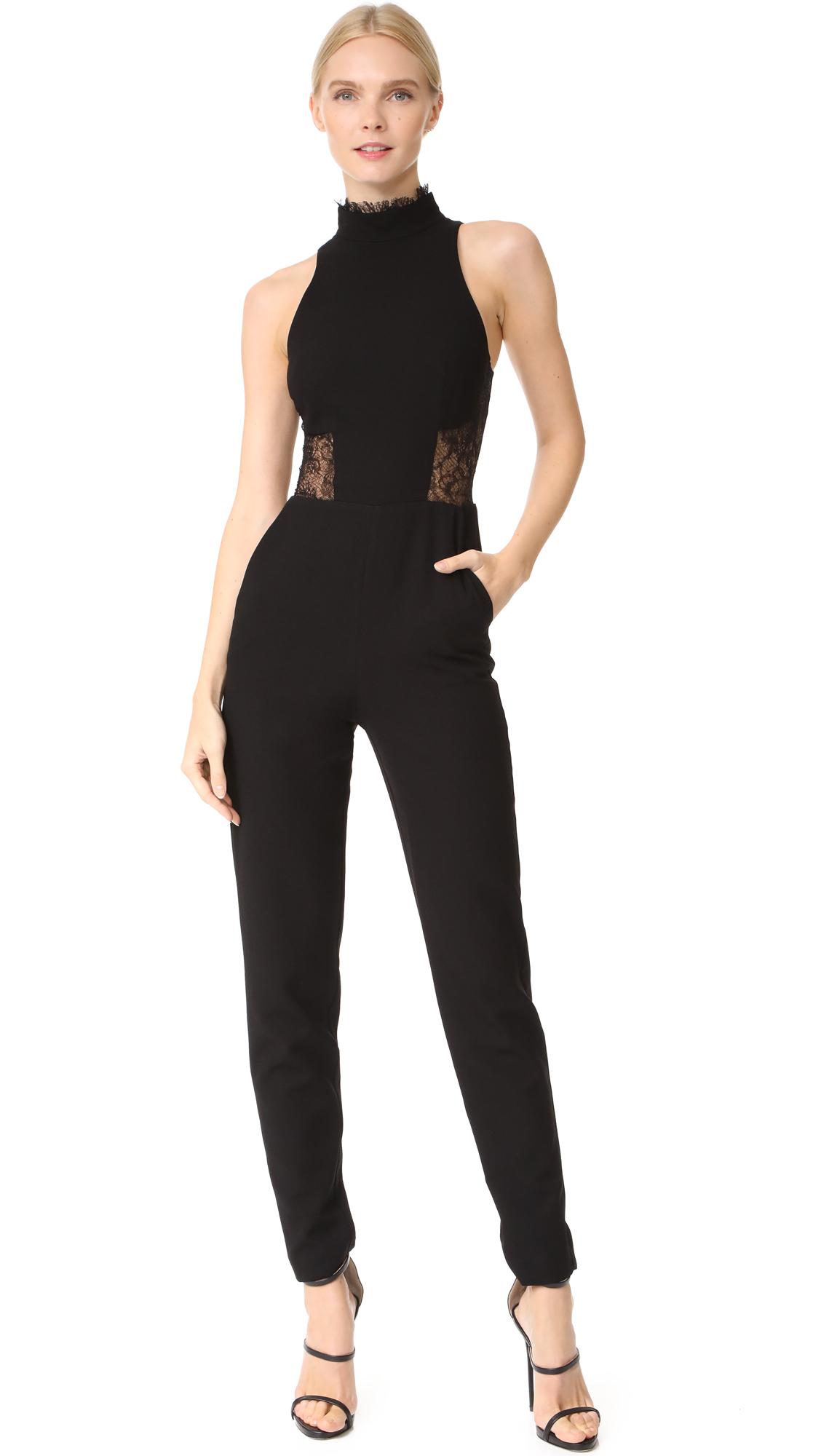 Nicholas Crepe Panel Lace Jumpsuit - Black