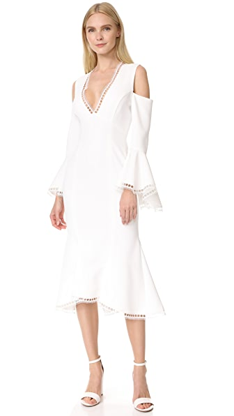 Nicholas Crepe V Neck Cold Shoulder Dress In White