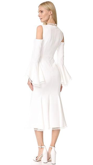 Nicholas Crepe V Neck Cold Shoulder Dress