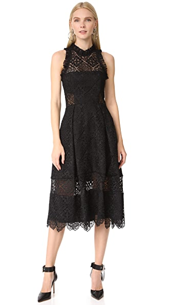 Nicholas Moroccan Tile Midi Ball Dress In Black