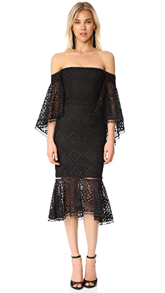 Nicholas Moroccan Tile Off Shoulder Midi Dress