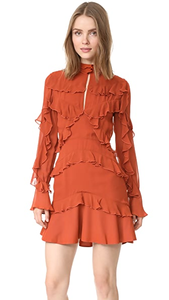 Nicholas Ruffle Layered Mini Dress - Brick