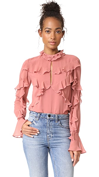Nicholas Ruffle Layered Blouse In Dusty Rose