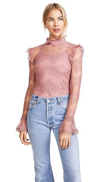Nicholas Thalia Lace Ruffle Blouse In Dusty Pink