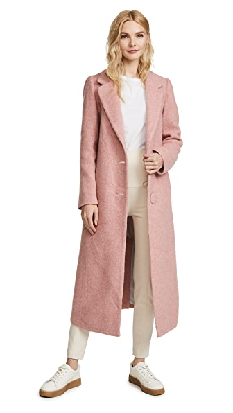 Nicholas Long Double Button Coat In Pink Teddy