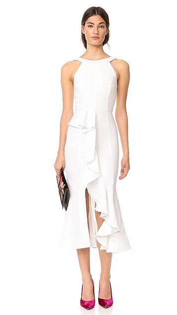 Nicholas Crepe Asymmetrical Ruffle Dress