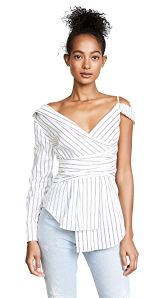 Nicholas Stripe Off Shoulder Shirt