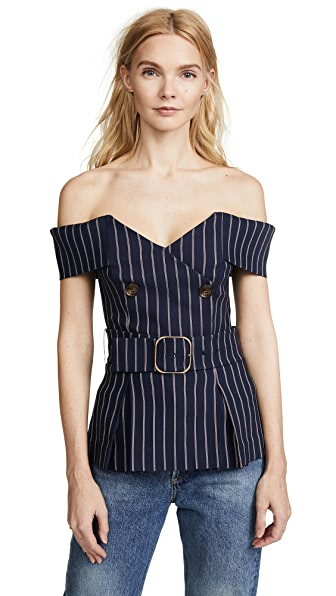 Nicholas Double Breasted Top In Pinstripe