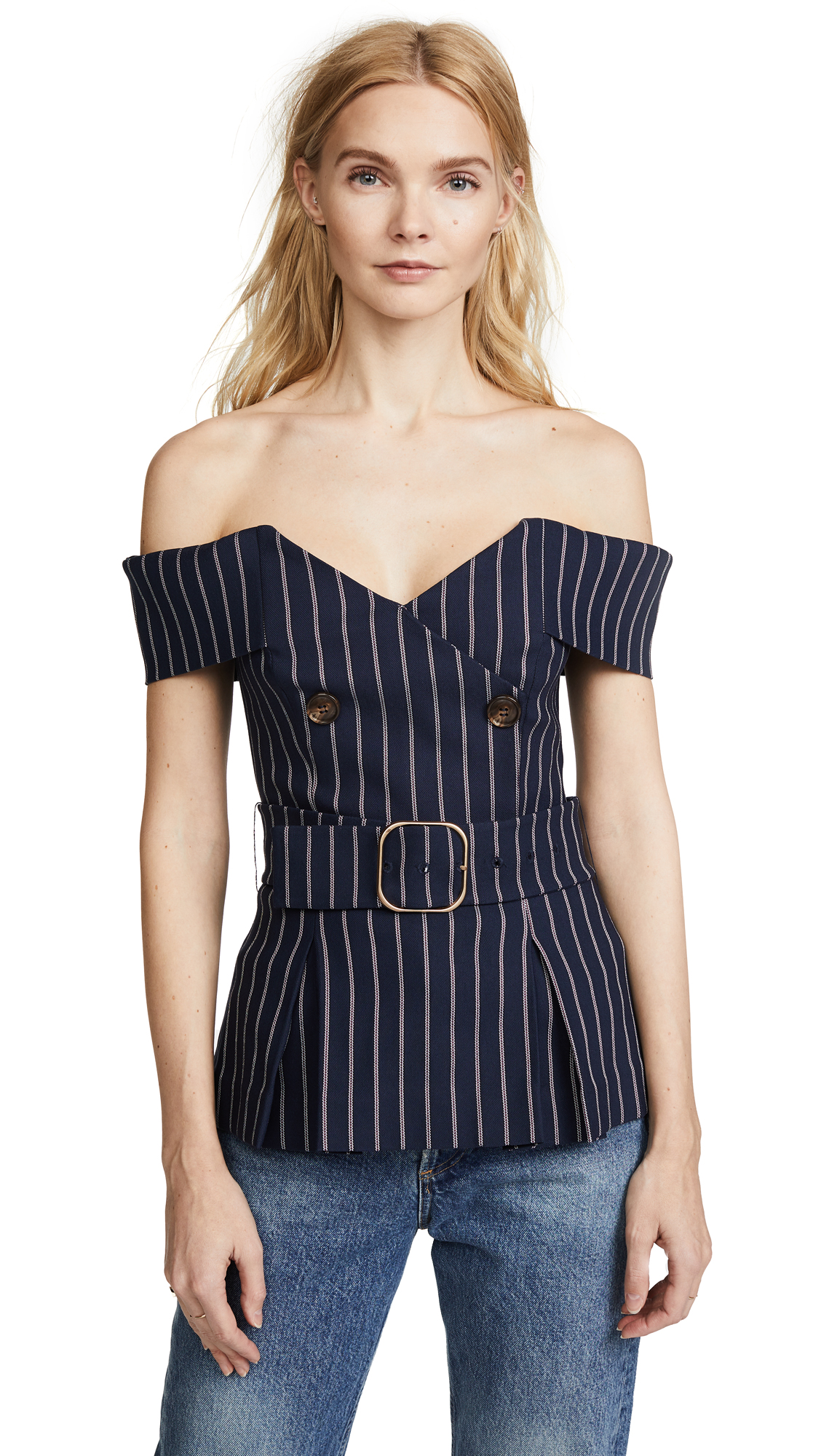 Nicholas Double Breasted Top - Pinstripe