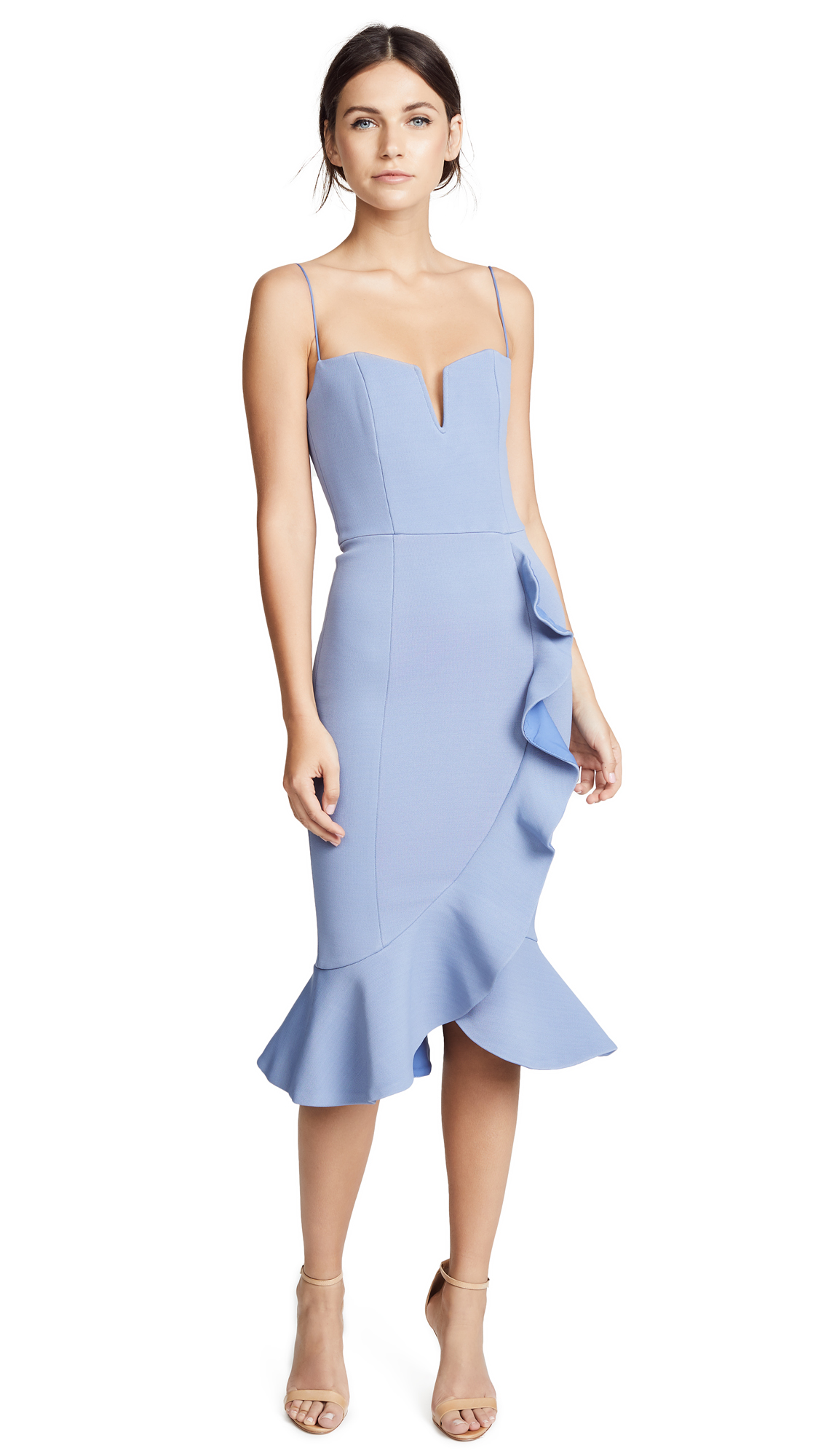 Nicholas Bandage Frill Wrap Dress In Dusty Blue