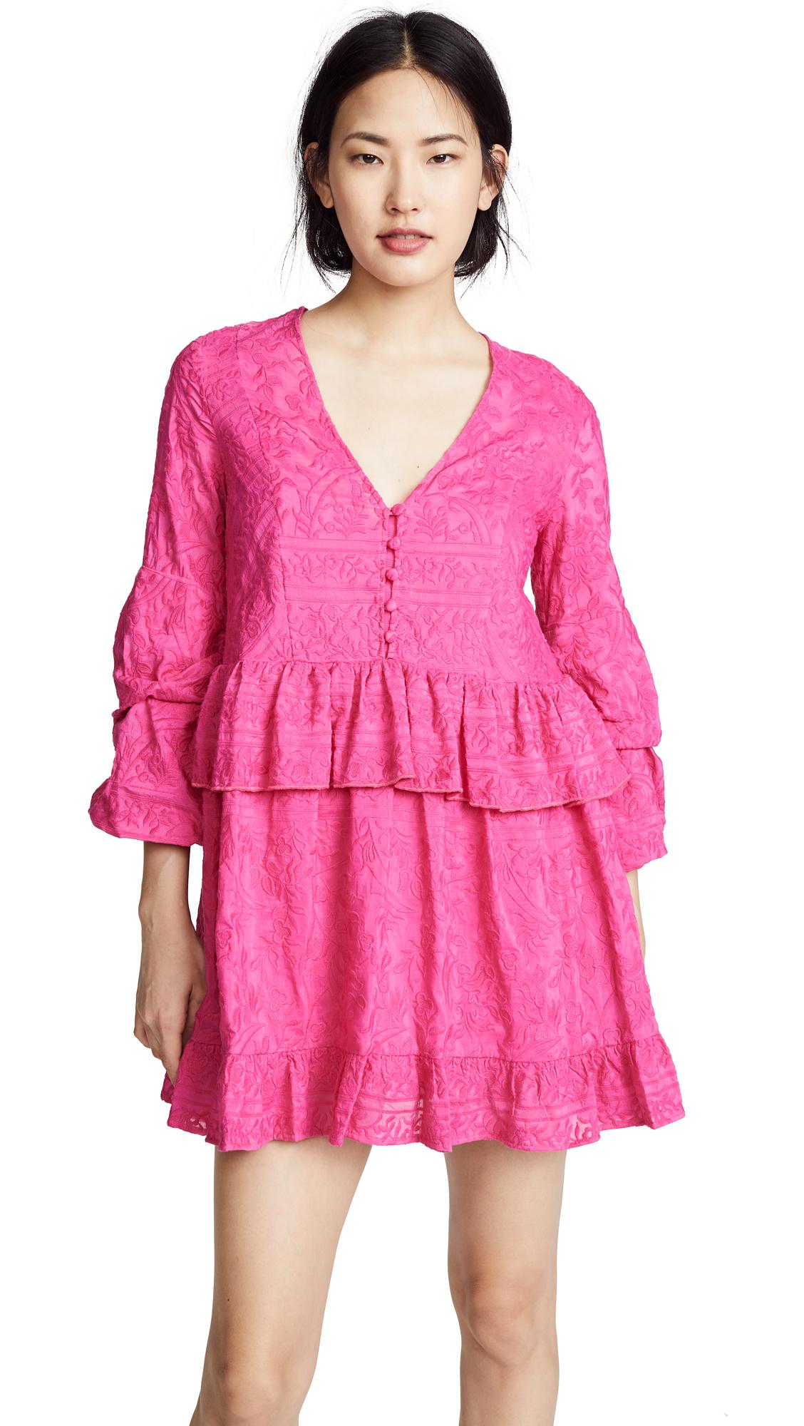 Nicholas N/Nicholas Ivy Embroidery Mini Dress In Magenta