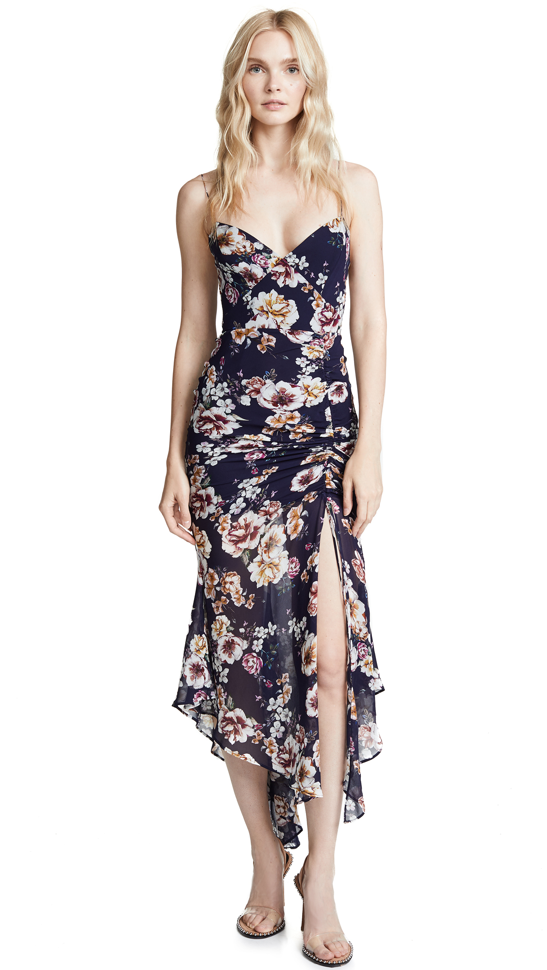 Nicholas Floral Drawstring Dress In Navy Floral