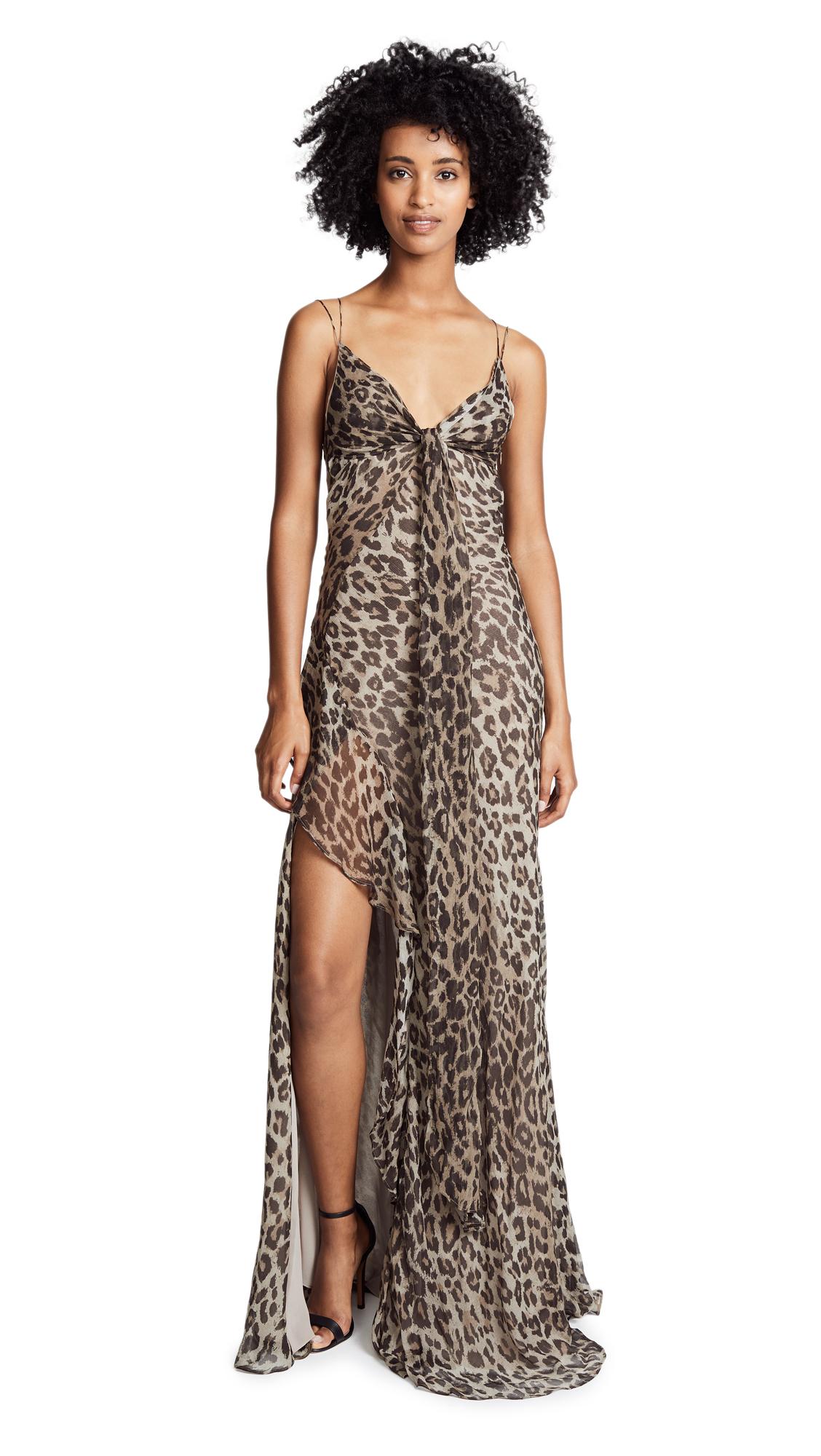NICHOLAS Leopard Tie Front Maxi Dress