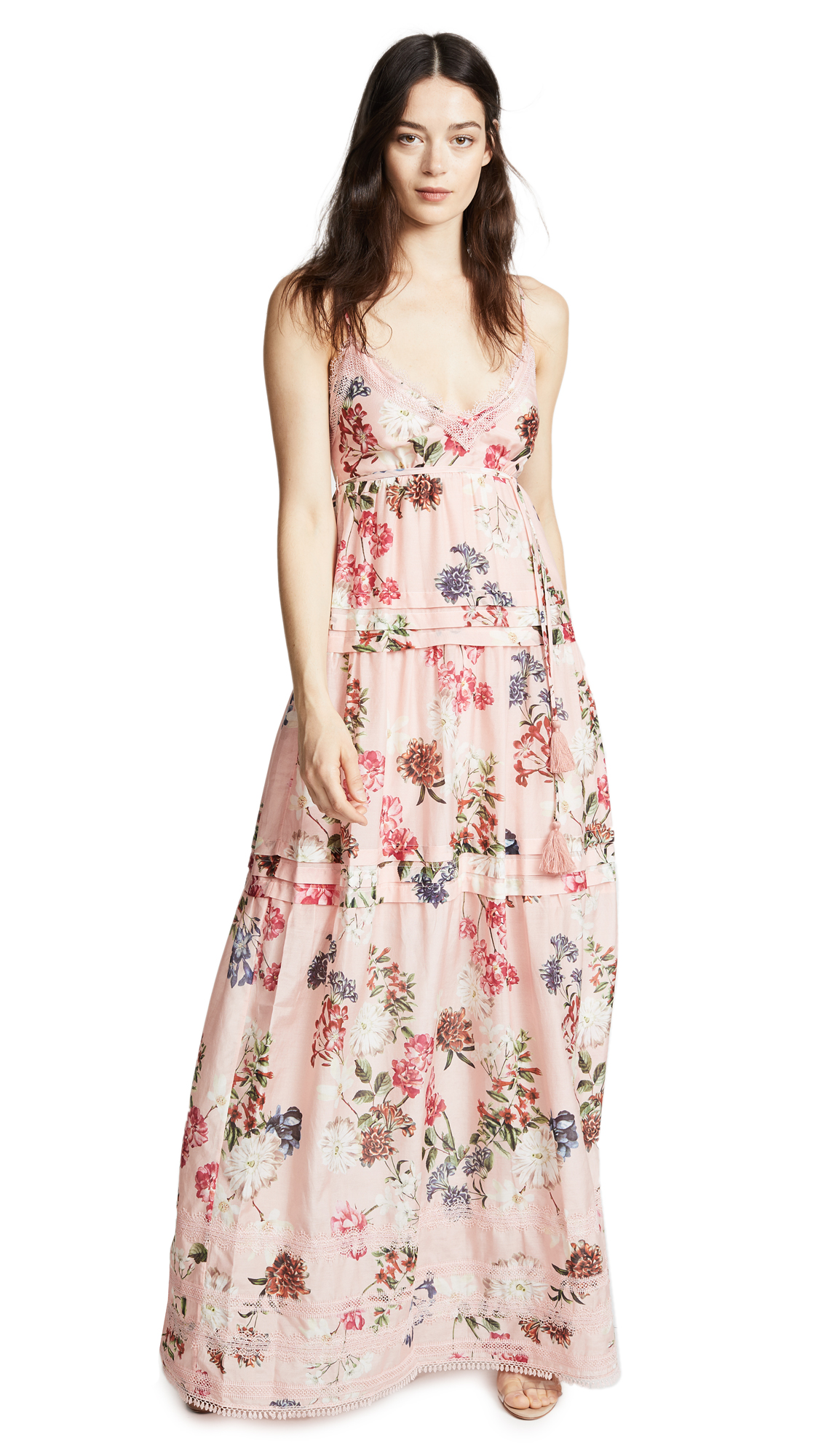 Nicholas Tiered Dress In Lilac Floral