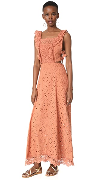 Nightcap x Carisa Rene Aimee Eyelet Maxi Dress - Copper