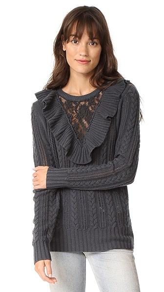 Nightcap x Carisa Rene Lace Inset Sweater - Light Grey