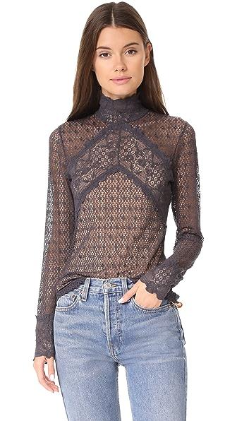 Nightcap x Carisa Rene Mesh Lace Collar Top In Ash