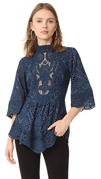 Nightcap x Carisa Rene Victorian Embroidered Blouse - Navy