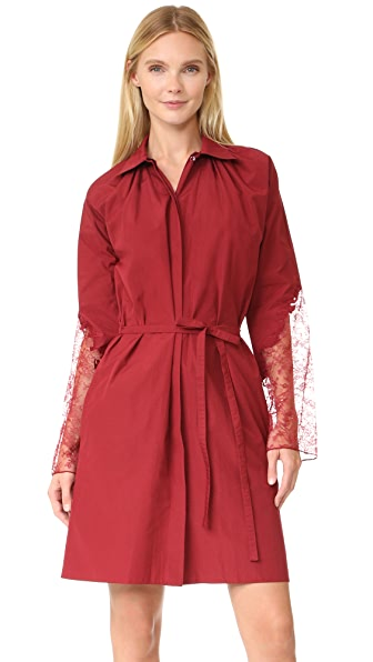 Nina Ricci Poplin Dress with Lace Sleeves